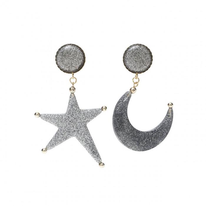 brinco estrela glitter prata