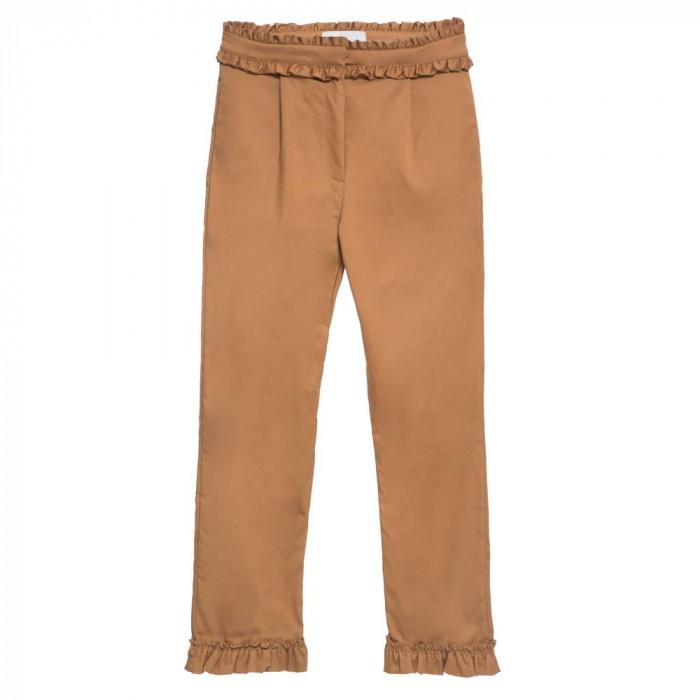 calça babados marrom