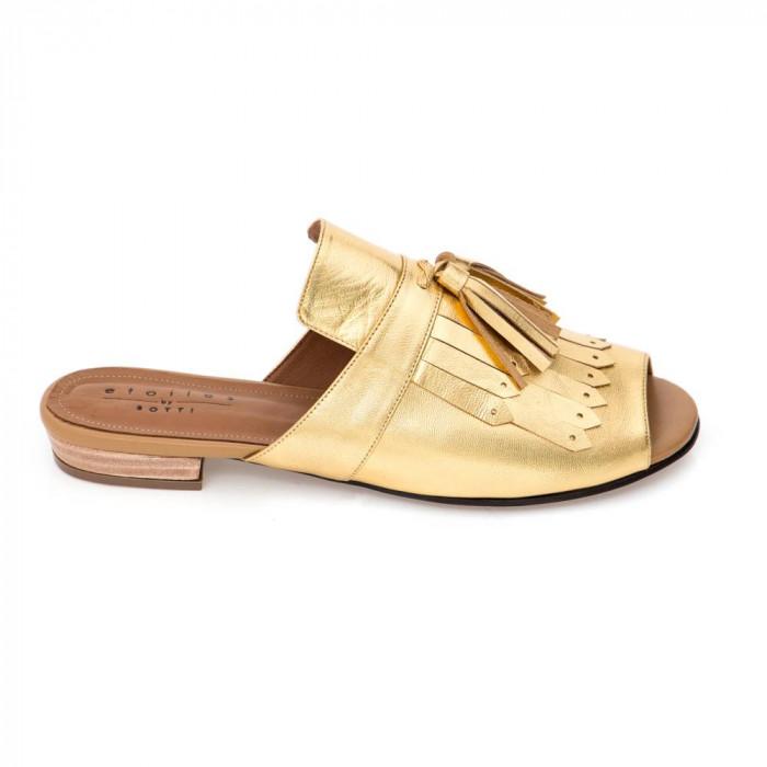 mule classica dourada lateral